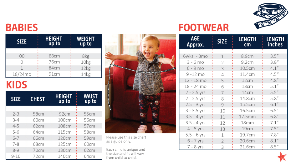 OshKosh Online Size Guide for Baby & Kids Clothing and Shoes