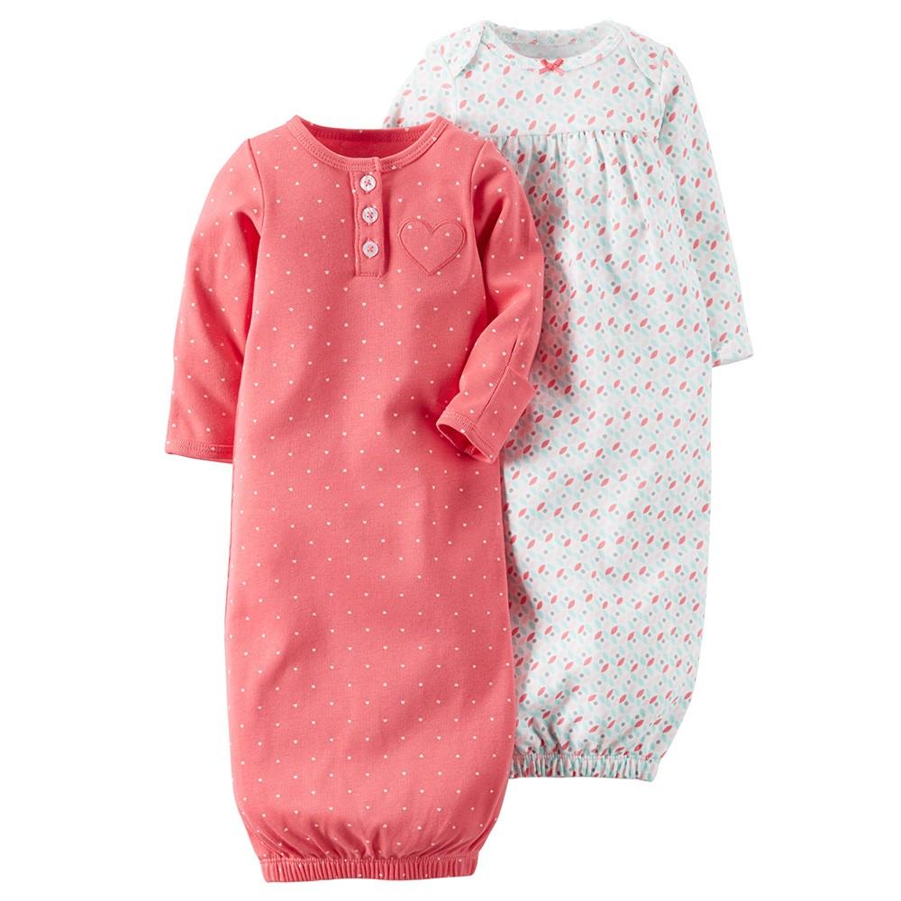 284a4ff25 Carter's 2PK Babysoft Sleeper Gowns - Baby Girl