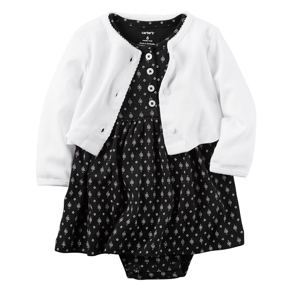 0e34b8de9db Carter s 2PC Little Traveler Babysoft Bodysuit Dress   Cardigan - Baby Girl