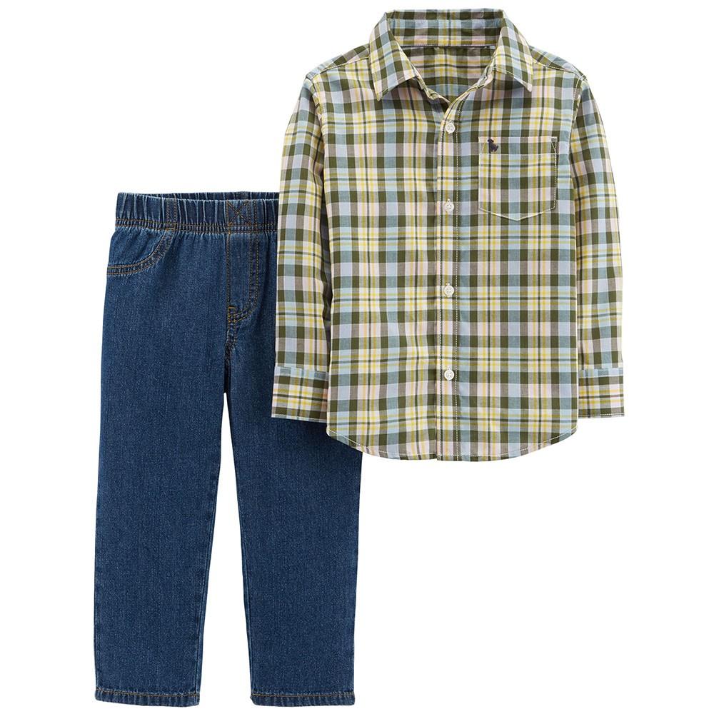 Carter S 2pc Button Front Top Denim Pant Set Baby Boy