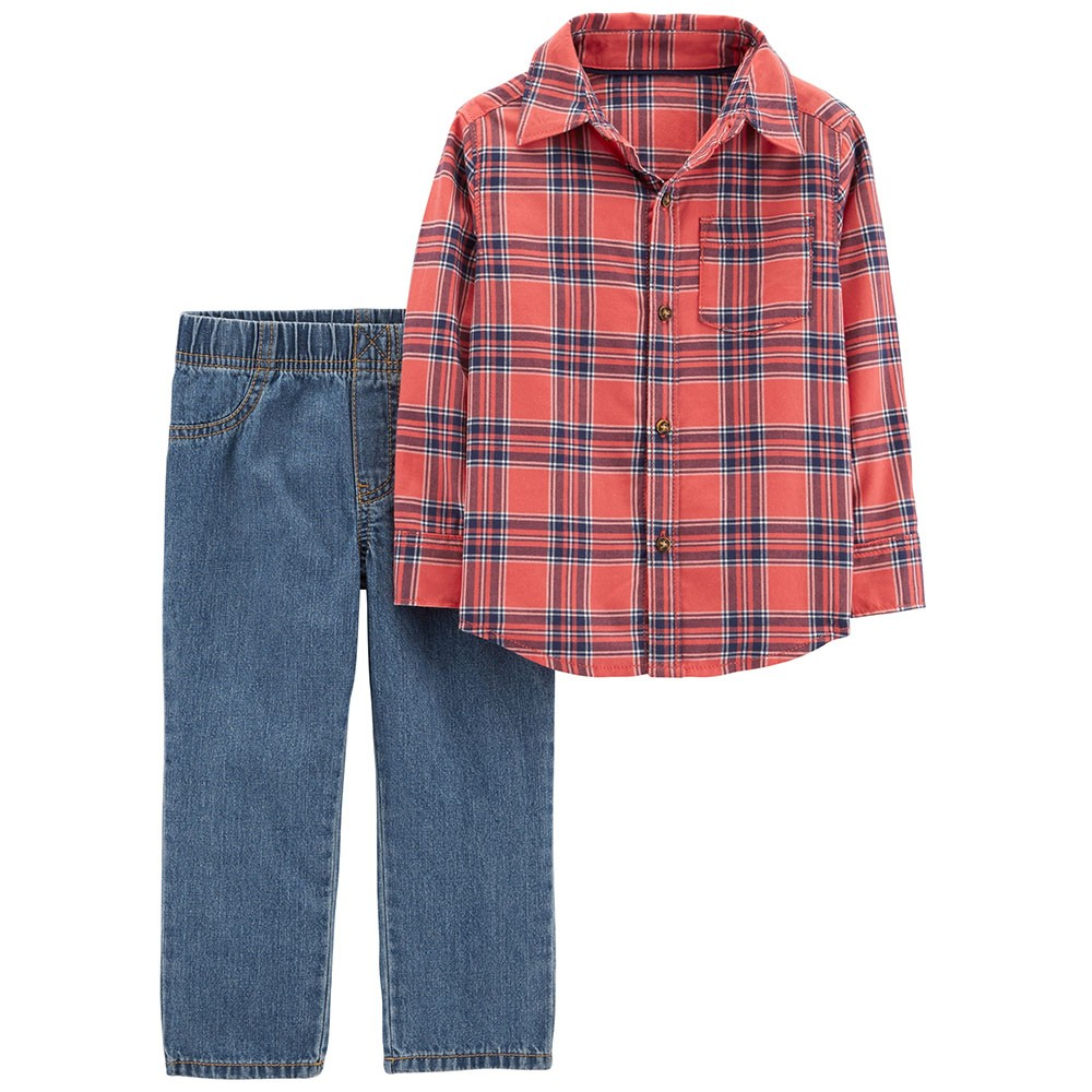 b7d0eb088 Carter's 2-Piece Button-Front Flannel & Pull-On Jean Set - Baby Boy