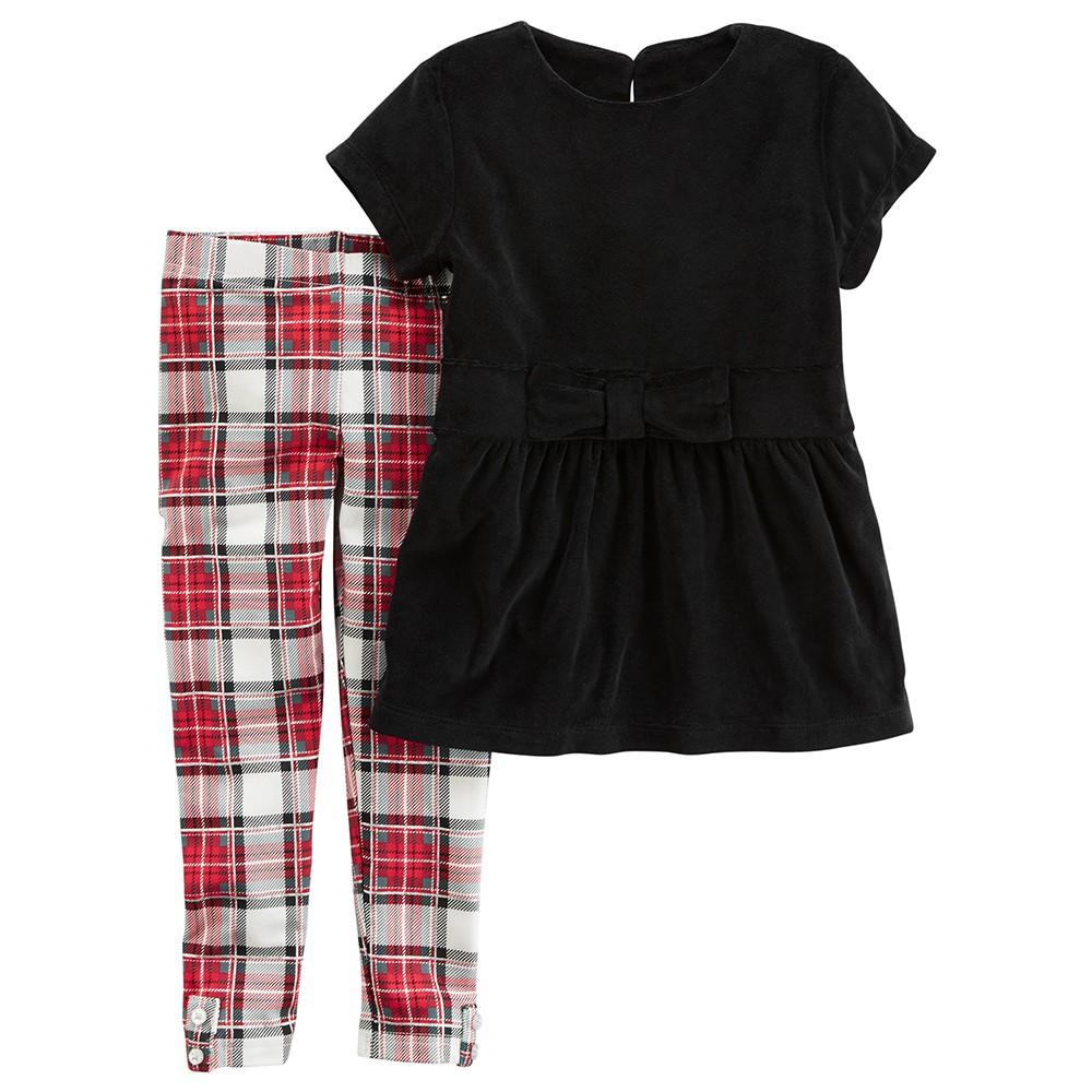 93f1a50c3 Carter's 2PC Velour Top & Plaid Legging Set - Baby Girl