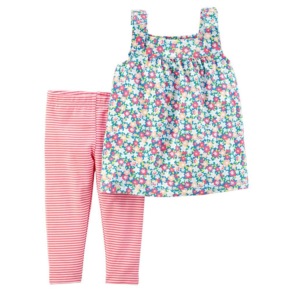 90ef29d9dcaf5 Carter's 2PC Floral Tie Shoulder Top & Striped Legging Set - Baby Girl