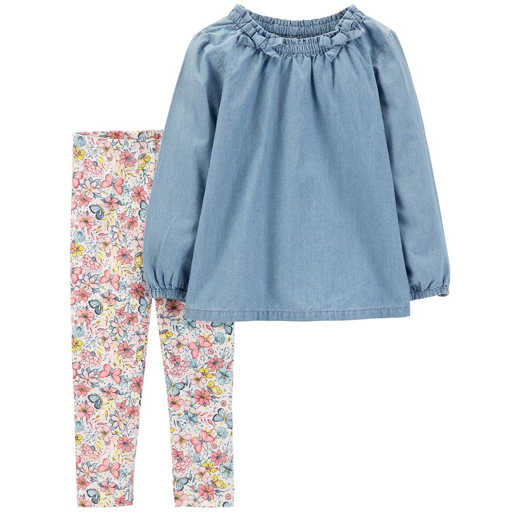 e48d20347 Carter's 2PC Chambray Top & Legging Set - Baby Girl