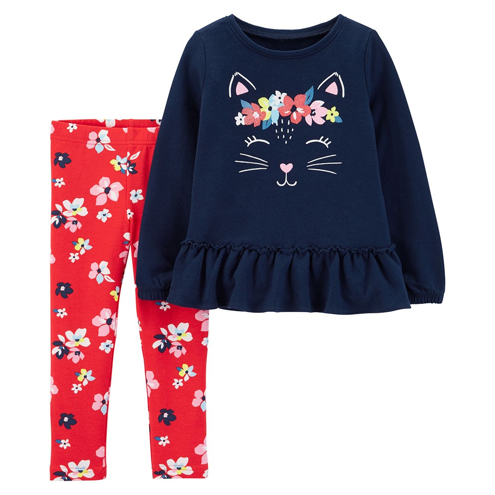 c7bad5b8c Carter's 2PC Kitty French Terry Top & Floral Legging Set - Baby Girl