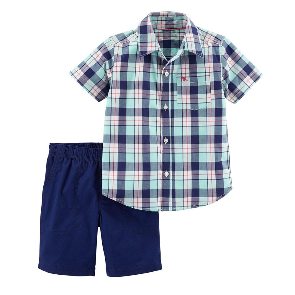 5651de0d Carter's 2PC Plaid Button-Front & Canvas Short Set - Toddler Boy