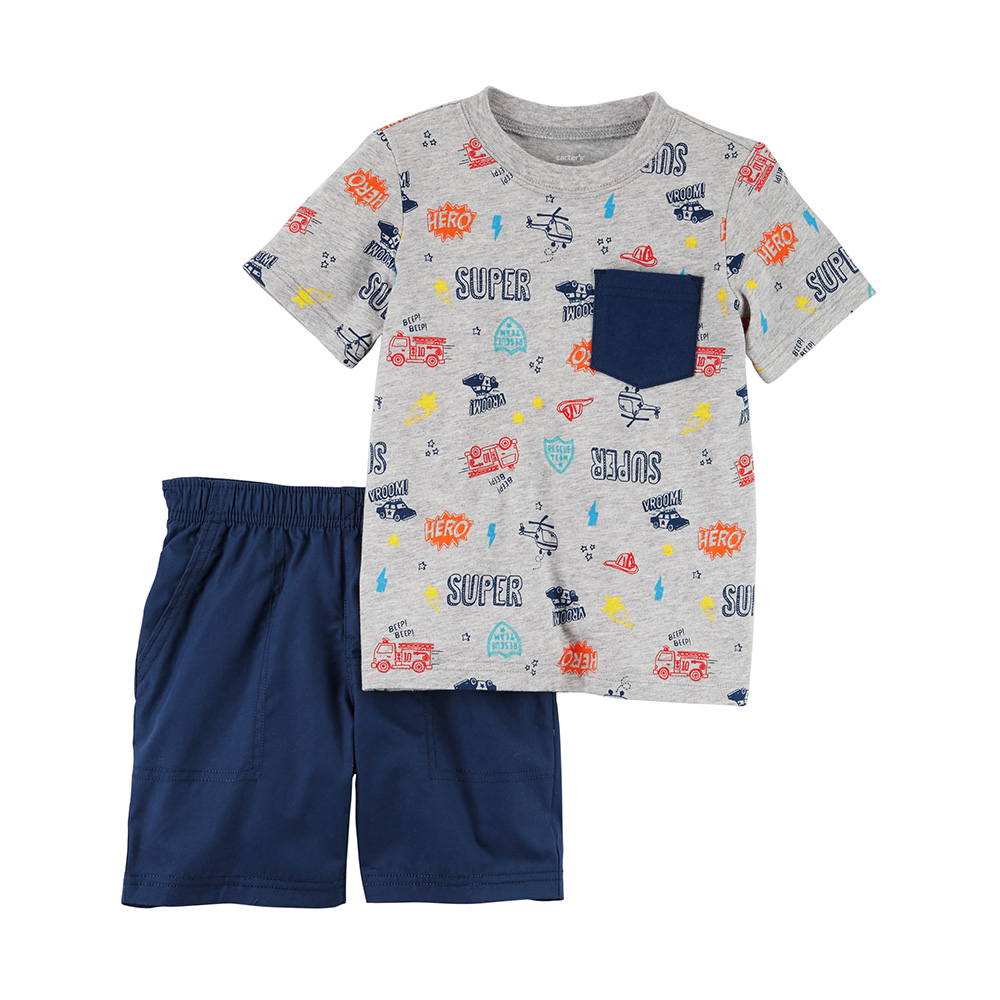 56c135cfb Carter's 2PC Jersey Tee & French Terry Short Set - Toddler Boy