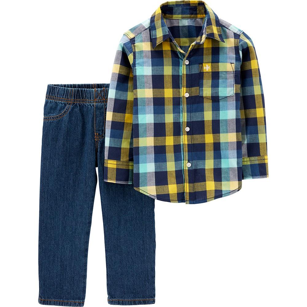 24f8cf9ef Carter's 2PC Button-Front Top & Denim Pant Set - Toddler Boy