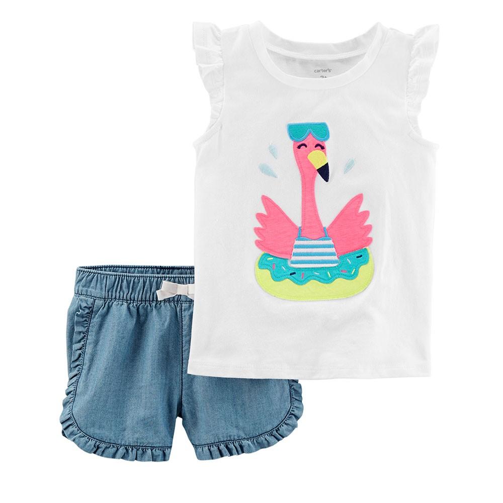 a08e256eb45b Carter s 2PC Flamingo Flutter-Sleeve Top   Denim Short Set - Toddler Girl