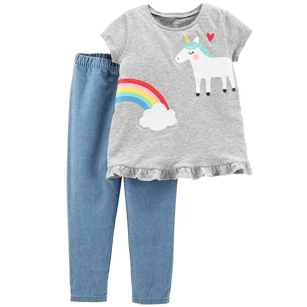 015a541dc27b Carter's 2PC Unicorn Top & Chambray Pant Set - Toddler Girl